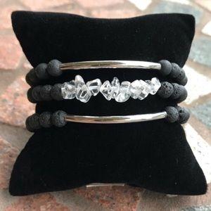 Genuine crystal quartz lava rock bracelets set
